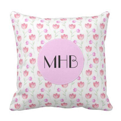 Monogram - Flowers Leaves Plant Stems - Pink Throw Pillow - floral style flower flowers stylish diy personalize