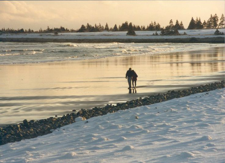 White point beach in the winter #Winter #beach #Sand #couple #romance #Halifax