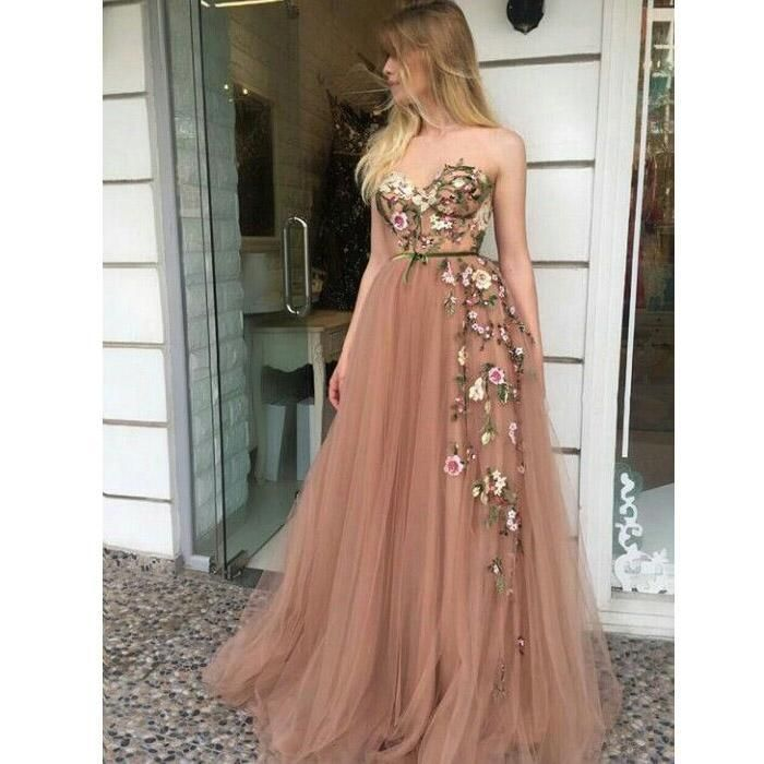 Tulle Applique Strapless A Line Sweetheart Formal Long Prom Dresses H4840