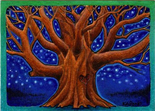 ACEO Starlit oak tree   Watercolor, ink and Prismacolor penc…   Flickr
