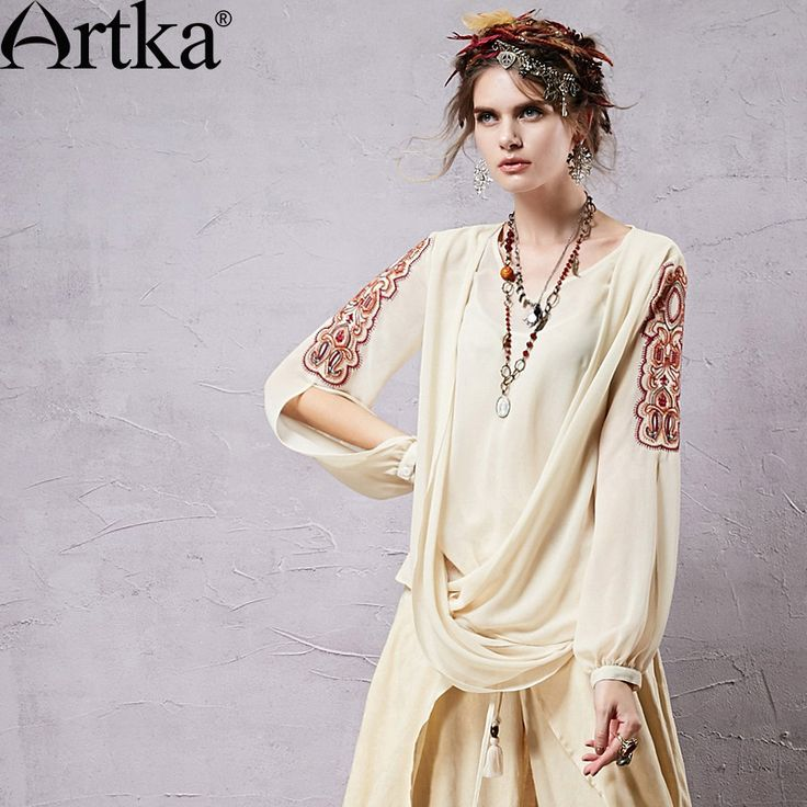 Find More Information about Artka Women's Retro Chiffon Blouses Ethnic Embroidery & Hollow Out Sleeve Design Fashion Woman Beige Shirts SA14350X,High Quality shirt band,China shirt blouses Suppliers, Cheap shirt paper from Artka on Aliexpress.com