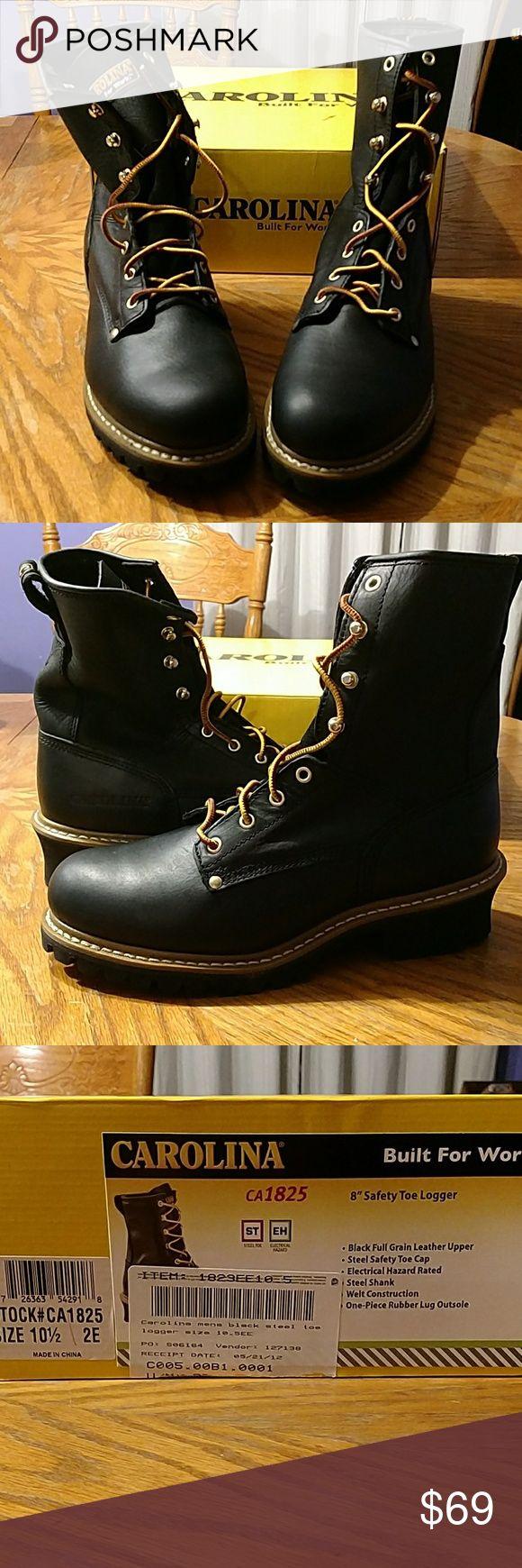 NIB CAROLINA STEEL TOE BOOTS Black leather steel toe work boots Never worn Carolina Shoes Boots