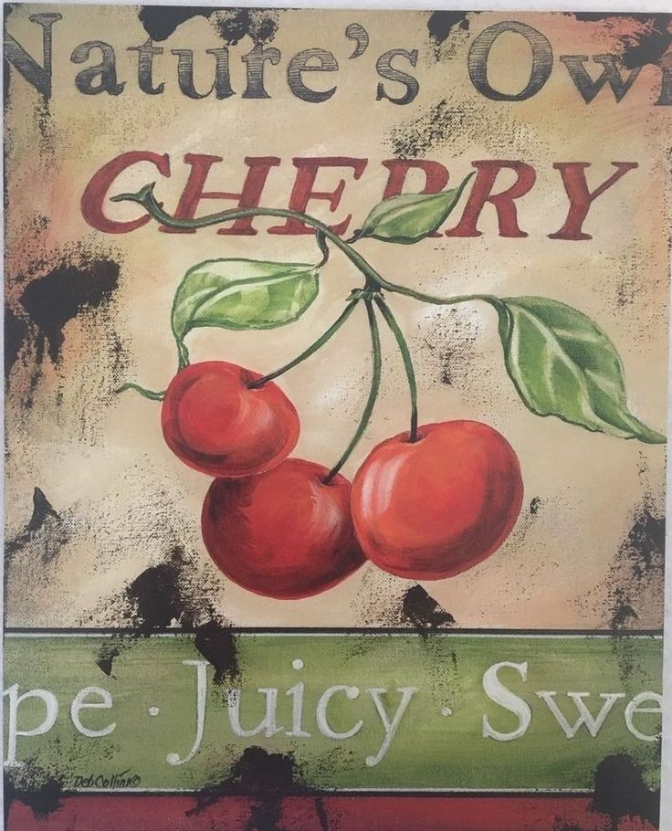 Deb Collins Primitive Label Look Cherry Art Print 8 x 10     eBay