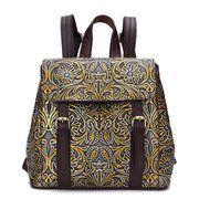 Brenice Genuine Leather Women Backpack Vintage Embossed Women Retro Bag Travel Backpack Online - NewChic Mobile