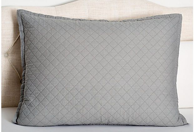 Emily Diamond Quilted Sham. Ash Gray on OneKingsLane.com