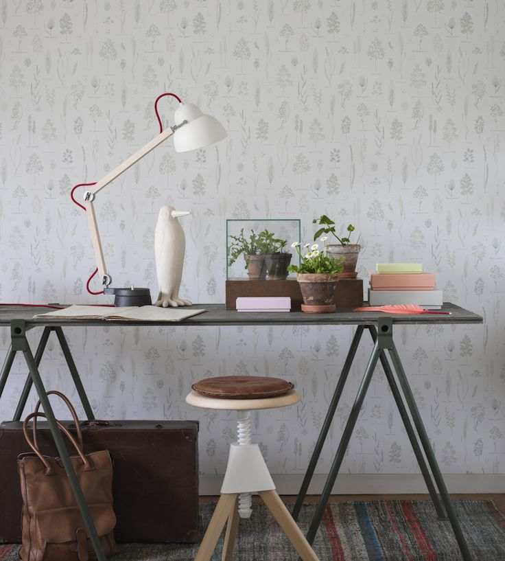 A calm and creative work space.  Trend | Scandi | Ria Wallpaper by Sandberg | Jane Clayton