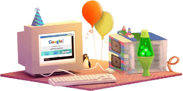 Today is the 17th birthday of Google and Google has an awesome doodle for it which leads to [when is google's birthday] search.  But you won't see the Google birthday doodle in the United States, instead...
