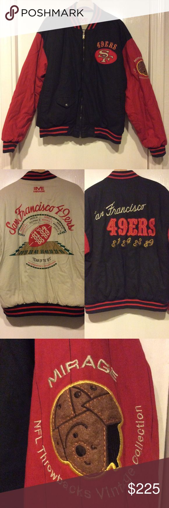 Very Rare Vintage Reversible 49ers Jacket, Mirage This vintage 49ers bomber jacket is extremely rare. And still in great condition. There is a minor stain on the lighter side of the jacket but it is very small. You can see this stain in the last picture. You won't find another jacket like this. Mirage  Jackets & Coats Bomber & Varsity