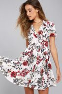 Just Fleur You White Floral Print Shirt Dress 2