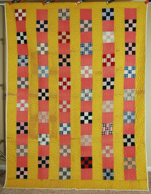 CHEERY Nine Patch Bars Antique Quilt ~NICE VINTAGE FABRICS & YELLOW CALICOS!
