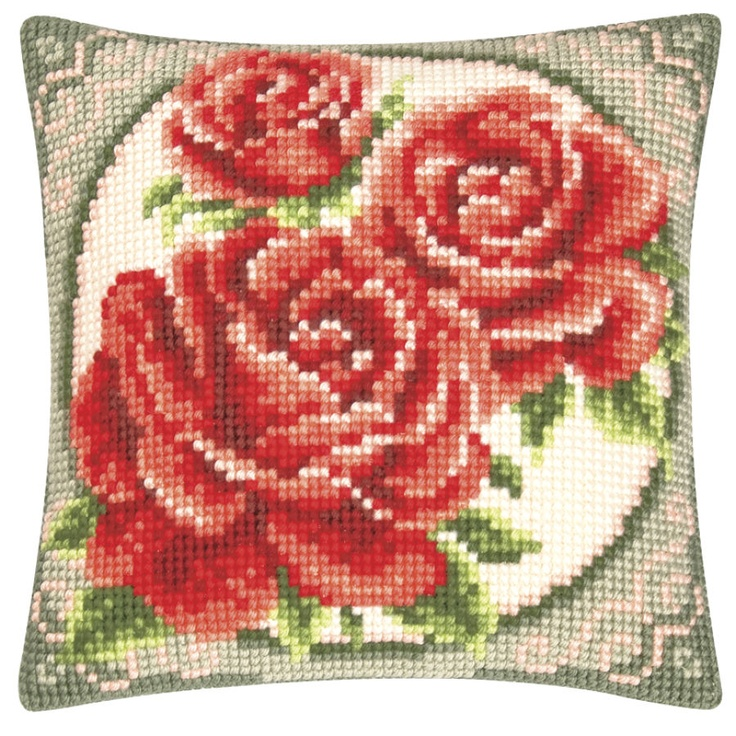 Rose Bouquet Pillow Top - Cross Stitch, Needlepoint, Stitchery, and Embroidery Kits, Projects, & Needlecraft Tools   Stitchery