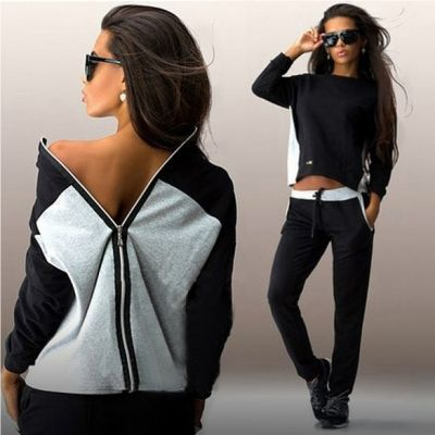 Sweatshirt Hoodie Sport Long Sleeve Back Zipper Splicing Women Tracksuits Sport Suits 2PCS Set