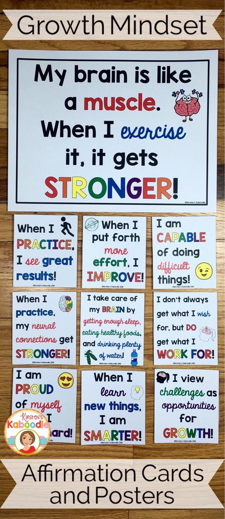 Do you teach your students about growth mindset? Are you aware of the benefits of using positive affirmations? Combine these two powerful approaches and transform student achievement!  Easy to use for teachers and super beneficial for students, these 22 affirmation posters and corresponding cards will challenge your students thinking about their abilities and their potential.