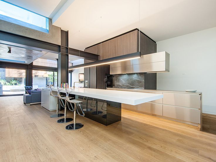 Victorian Terrace House renovated and extended by Nicholas Murray Architects featuring mafi Oak Character Brushed Natural Oil floorboards in the kitchen | mafi Timber