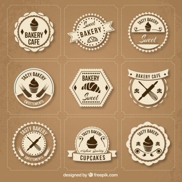 Colección de insignias retro de panadería Vector Gratis