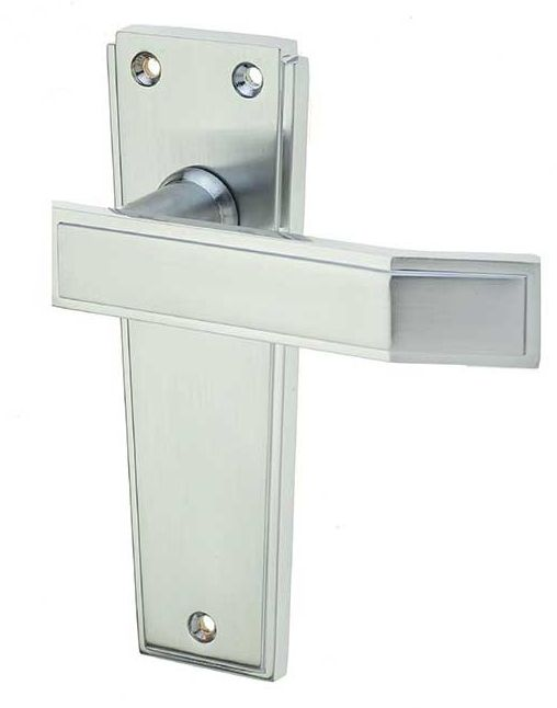 'Deco' Polished Chrome Or Satin Chrome Door Handles - JV253 (sold in pairs) None