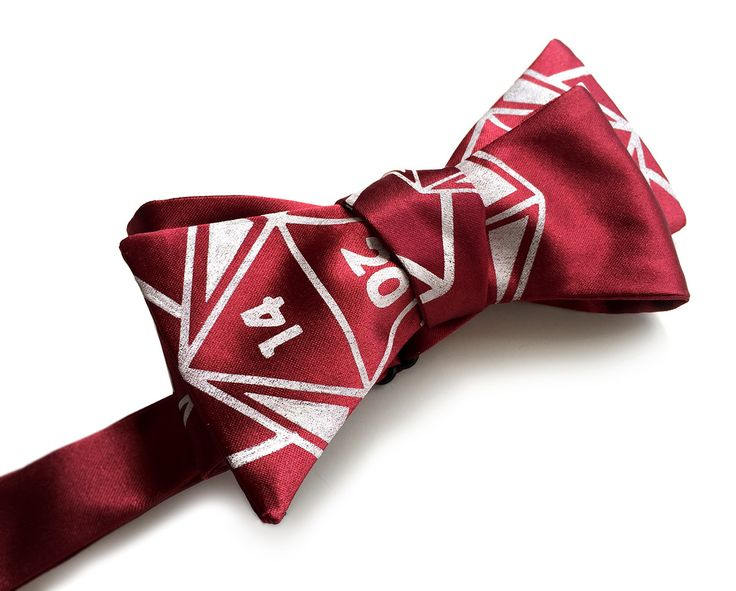 """d20 bow tie. Our """"20 Sided Tie"""" is sure to be a critical hit at the most formal of affairs. Be the wardrobe master!"""