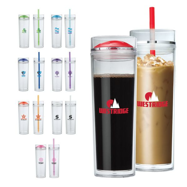 16 Oz Combo Tumbler Features Double Wall As Insulation And Includes Two Lids
