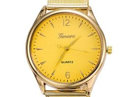 Geneva Unisex Fashion Watch Metal Band Quartz Luxury Wrist Watches Gold