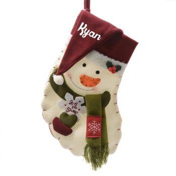 Découvrez cette Chaussette de Noël personnalisée - Bonhomme de Neige sur poupepoupi.com #chaussettedenoël #cadeaudenoël