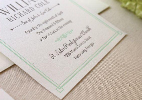 The Lush Deco Suite - Letterpress Wedding Invitation Suite - Art Deco, Gatsby, Garden, Twenties, Green, Mint, Grey, White, Old Hollywood