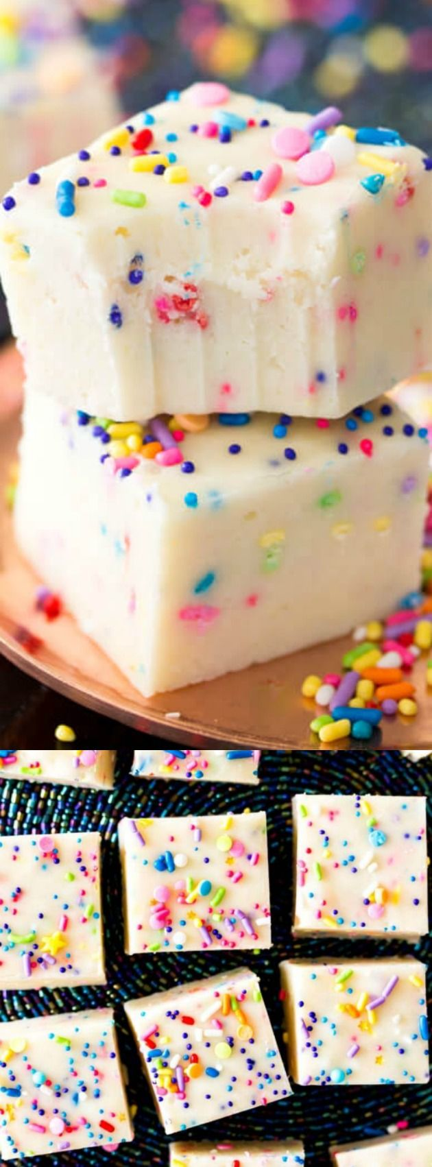 This Cake Batter Fudge from Sugar Spun Run is a fun and colorful birthday treat! The sweet funfetti cake batter fudge is made with cake mix and packed full of colorful sprinkles! #birthday #desserts #candy