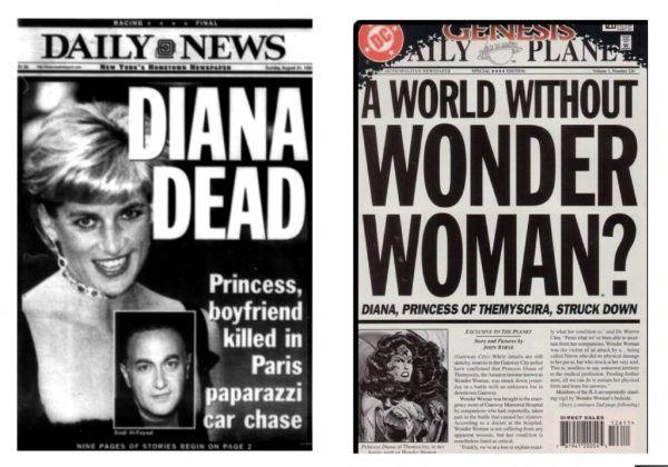 Muerte de la Princesa Diana. - En una historia realizada por DC, Wonder Woman, también conocida como la Princesa Diana de Temiscira, es asesinada por el villano Nerón, historia que fue publicada solo 4 días antes de la trágica muerte de la Princesa Diana de Gales.