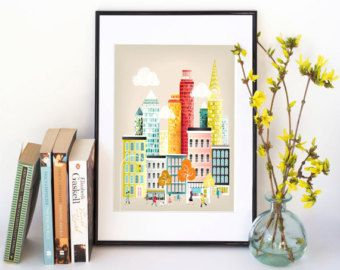 Prague Print Charles Bridge Czech Skyline Cityscape by lauraamiss