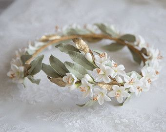 Jasmine gold wreath. Bridal wreath. Boho por LenaRomHeadpieces