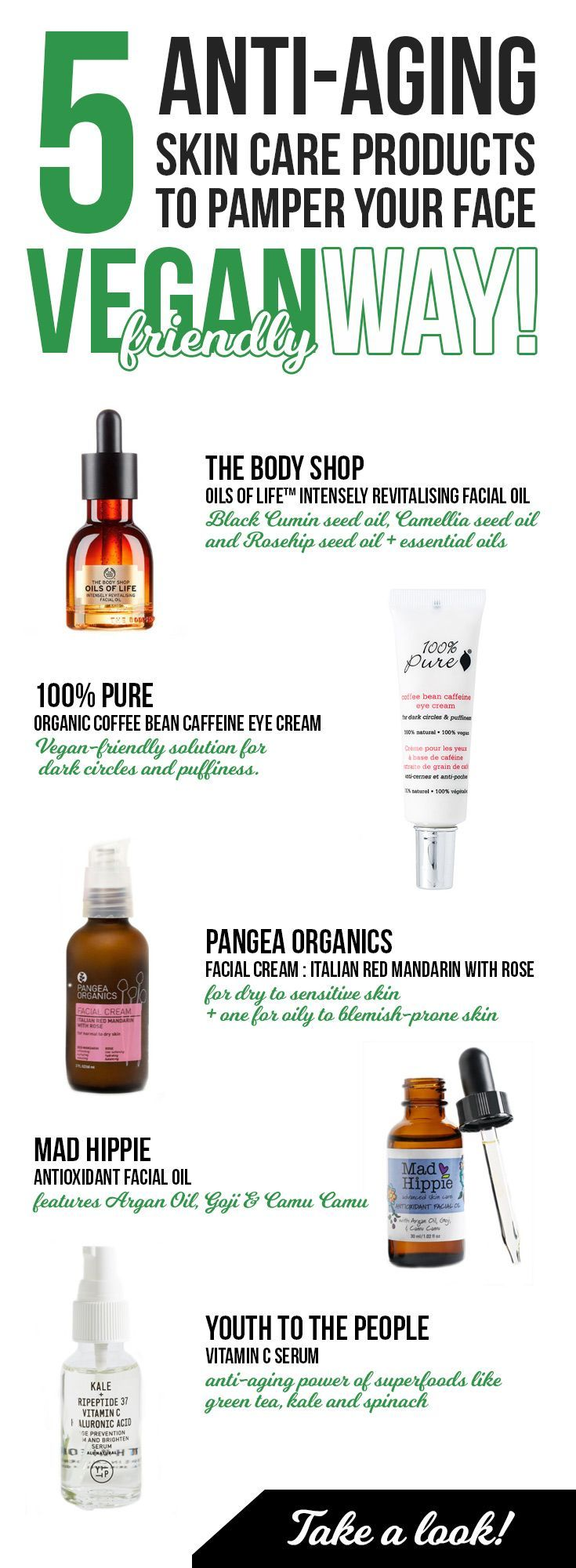 Anti-aging skin care products for face, 5 best, cause vegan-friendly! Best serums, oils and face creams for aging, skin blemishes and under eye puffiness. Vegan products for dry to sensitive skin you just must check!