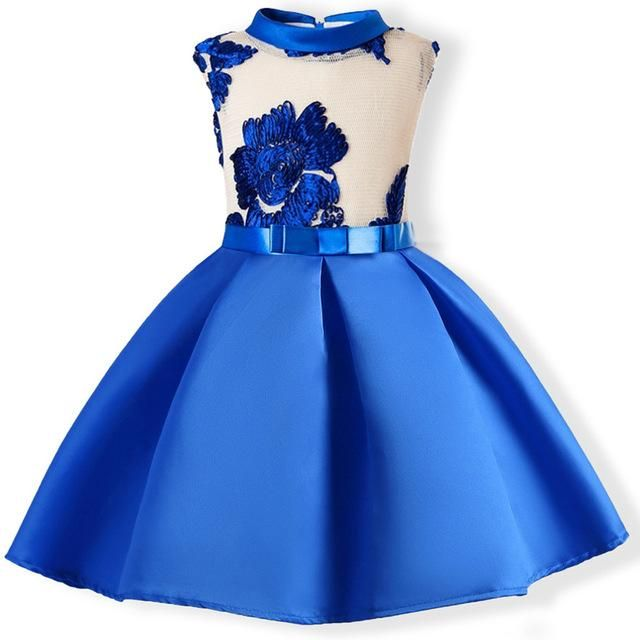 Girls Formal Princess Dress Bowknot Kids Baby Party Wedding Pageant Dress 2-7Y
