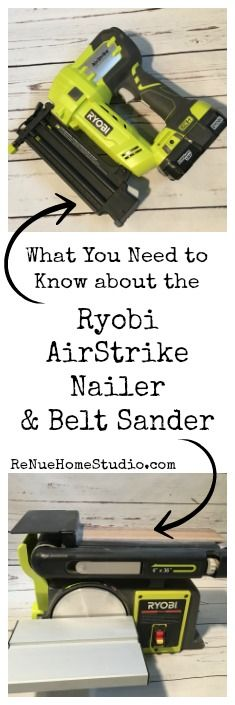 If you're thinking about adding some Power Tools to your shop or studio, you'll want to read our review of the Ryobi AirStrike Brad Nailer and Ryobi Belt Sander.  ryobi power tools review tutorial shop studio diy projects do it yourself building build sand nail compressor hgtv fixer upper magnolia shanty2chic network tool hand sander lithium battery