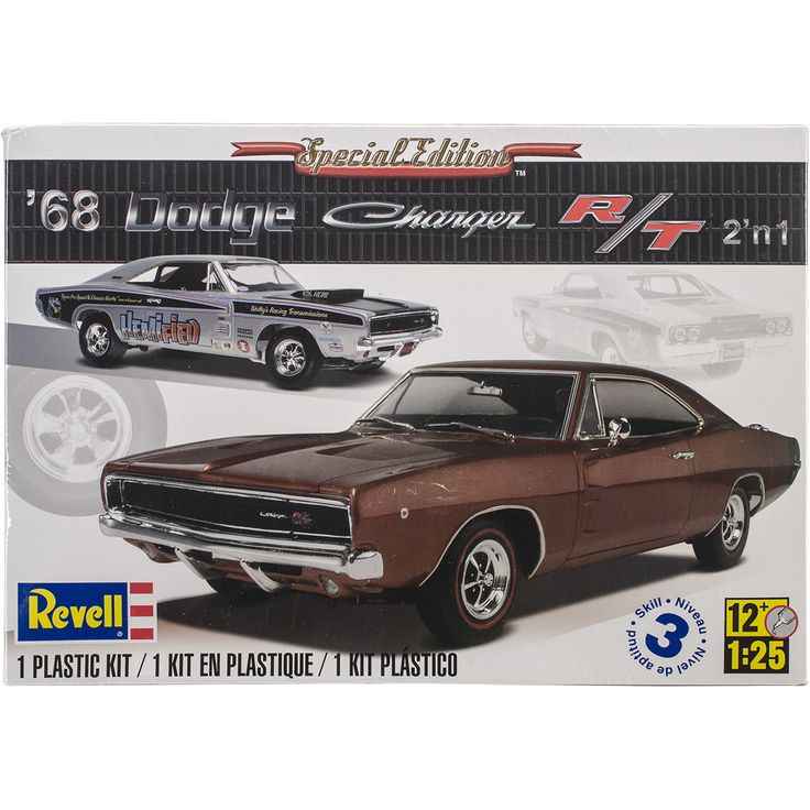 This Revell 1968 Dodge Charger 2-in-1 Plastic Model Kit features an optional complete 440 cubic inch or 426 Hemi V8 engines. This model kit includes 181 pieces molded in white, transparent red and cle