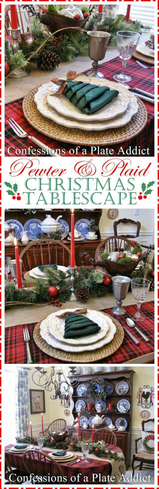 CONFESSIONS OF A PLATE ADDICT: Pewter and Plaid Christmas Tablescape...with a Fun Christmas Tree Napkin Fold!