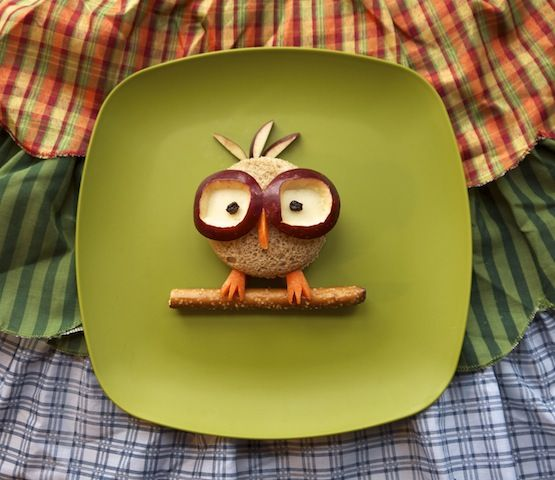 Hooting kids lunch: nerdy little owl by Kellie Strickland