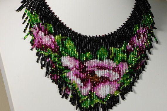 tea rose beadwork necklace beadweaving fringe by Trendydeals