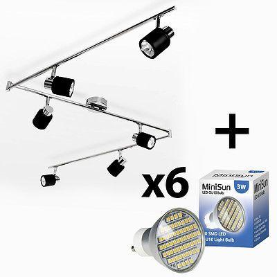 Chrome & Black Spotlight Ceiling Light Fitting 3 Watt SMD LED GU10 Bulbs Lamp