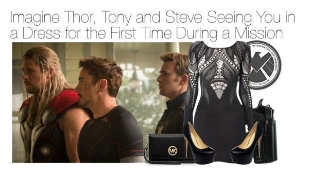 """""""Imagine Thor, Tony and Steve Seeing You in a Dress for the First Time During a Mission"""" by xdr-bieberx ❤ liked on Polyvore featuring MICHAEL Michael Kors and French Connection"""