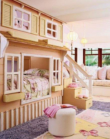 cute house bunk bed by Plumeria:  Cots, Dolls Houses, Idea, Dreams Rooms, Bunk Beds, Girls Bedrooms, Little Girls Rooms, Bunkbeds, Kids Rooms