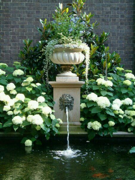 Co Co's Collection : Formal garden # structure # roses # boxwood. Hydrangea spill into the reflecting pond like the urn topped fountain