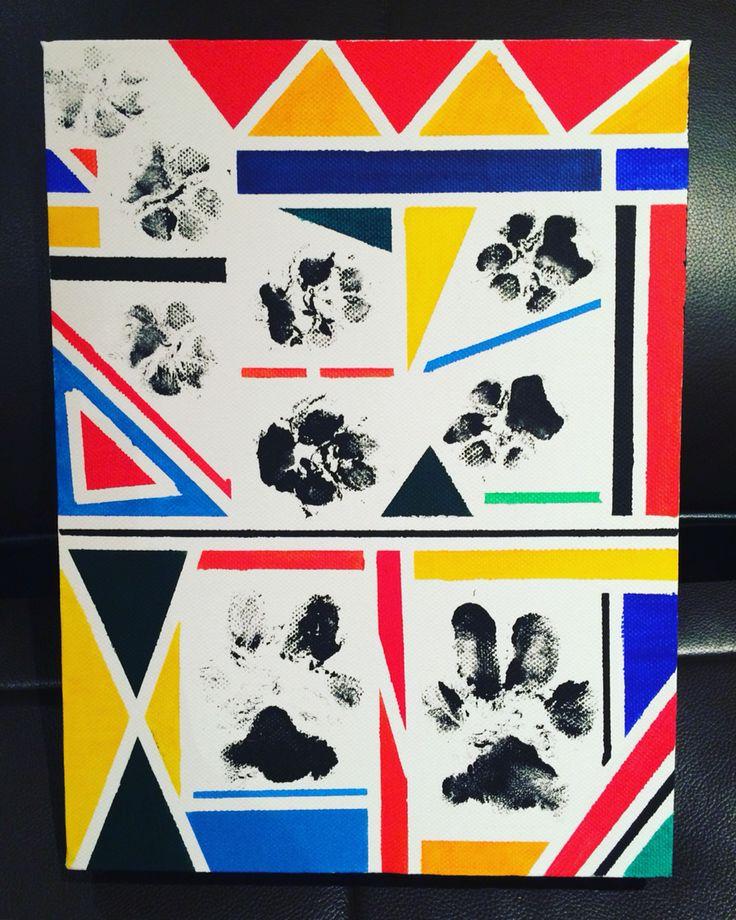 Patitas de mis 4 perros, pintado con acrílico