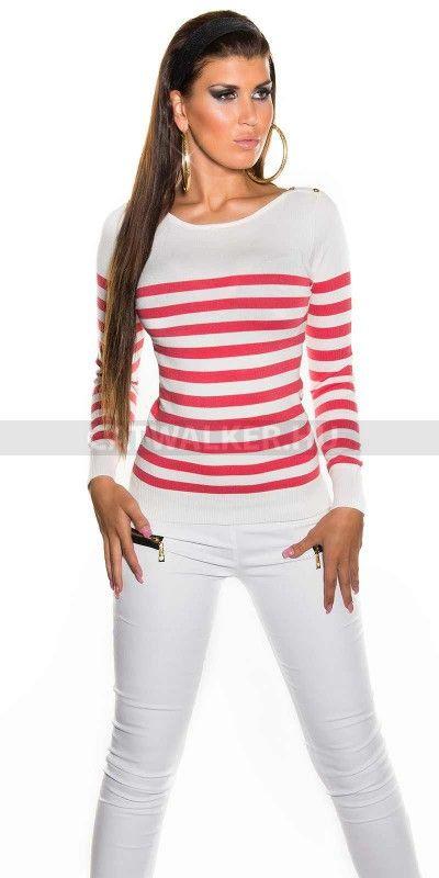 Női pulóver, divatos, korál csíkos, vállán gombokkal díszítve, sportosan elegáns fazonban.