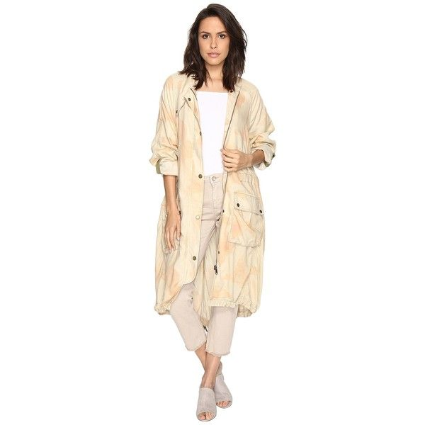 Free People Lightweight Utility Trench (Peach) Women's Coat ($160) ❤ liked on Polyvore featuring outerwear, coats, beige trench coat, light weight trench coat, lightweight coat, print trench coat and patterned trench coat