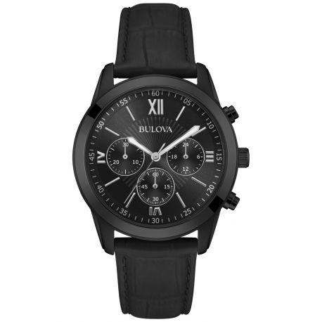 Reloj Bulova  Cuero Negro/Cronógrafo Modelo 98A152