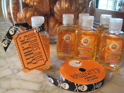 Germs Are Scary! Perfect gift idea! Bath and Body hand sanitizer is cheap! Just make a printable and get some halloween ribbon