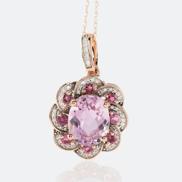 This fun floral pink pendant necklace is a beautiful addition to your romantic beach weekend. Best of all, it pairs well with all of your warm weather attire! || 2.72ct Kunzite With .26ctw Pink Tourmaline & .14ctw White Diamonds 10k Rose Gold Pendant With Chain [Promotional Pin]