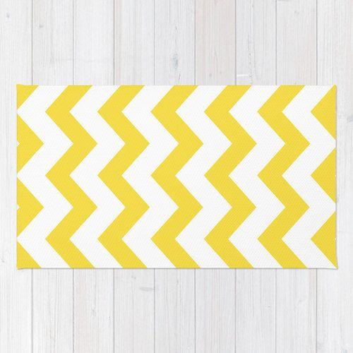 Yellow Chevron Area Rug - Yellow and White Nautical Chevron Printed Rug - Modern Home Decor - Aldari Home by AldariHome on Etsy #yellow #chevron #rug #decor