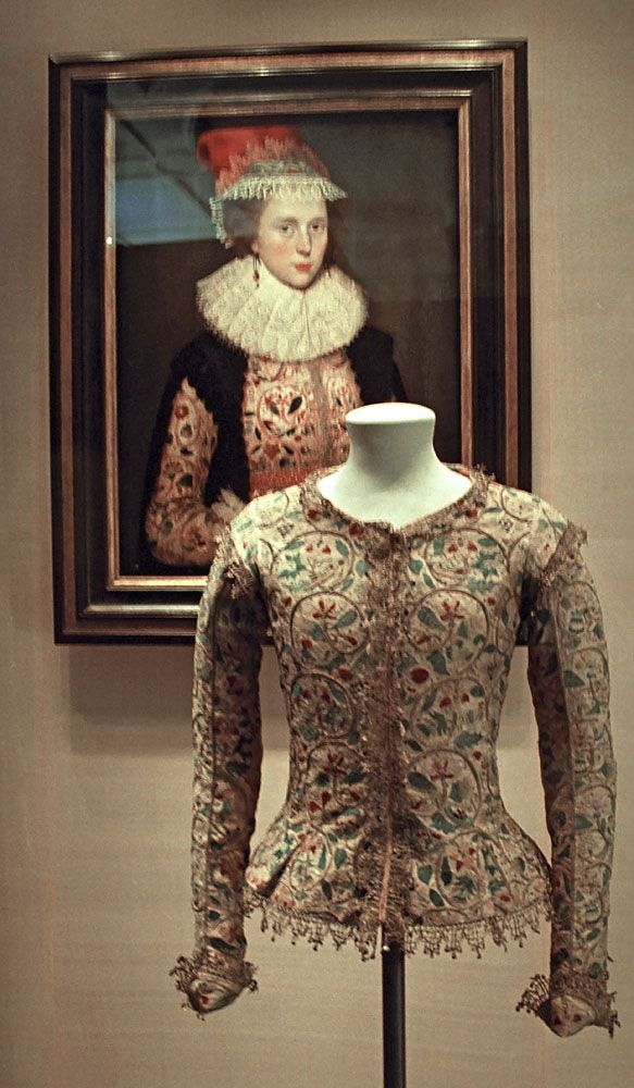 17th century embroidered jacket and painting. Victoria & Albert Museum, May 2003.This is the earliest known example of a textile shown in a painting where both the painting and the textile still exist. It slightly post-dates the Elizabethan period – the jacket was made in 1610 and altered in 1620. The sitter is Margaret Laton and the painting is attributed to Marcus Gheeraerts the Younger.