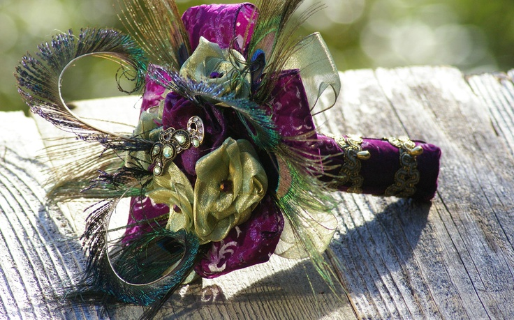 Peacock Feather Vintage Brooch Bridal Purple Green Bouquet Victorian Rennaisance. $45.00, via Etsy.