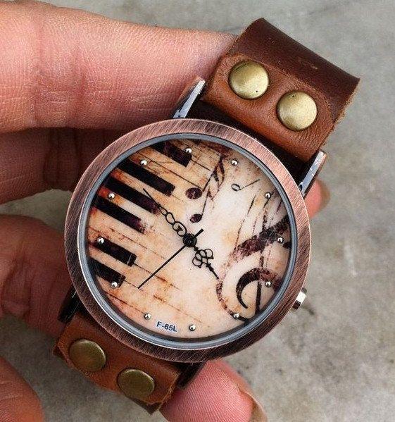 Retro style watchPiano patter wrist watch bracelet by braceletcool, $18.98